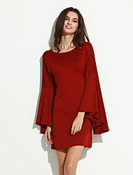 Women's   Vintage  Sexy  Casual  Party Round Neck Long Sleeve Solid  Dress