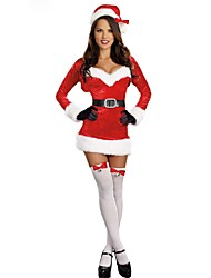 Extravagant  Black/White V-Neck Sexy Christmas Costume Women's Santa Miss Dress Santa Claus Costumes Outfit
