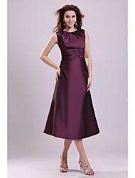 A-line Mother of the Bride Dress Tea-length Sleeveless Taffeta with Beading