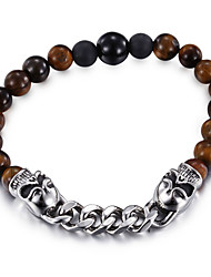 Kalen New Punk Jewelry 316 Stainless Steel Link Chain Bracelet Imitation Tiger Eyes Beads Strand Bracelets For Men Party Accessory Gifts