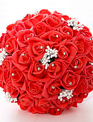 Hochzeitsblumen Rundförmig Rosen Sträuße Partei / Abend Satin 41 cm ca.