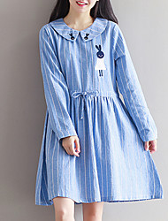 Women's Ruched Slim Cute Loose DressStriped / Embroidered Round Neck Knee-length Long Sleeve Blue / Gray Cotton / Polyester Spring Mid Rise