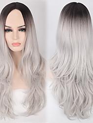 preto / cinza ombre onda da cor beleza peruca natural para as mulheres europeias e americanas uso diário de calor forma resistente novo