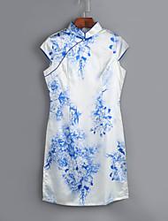 mini vestido estilo chinês fino do vintage das mulheres