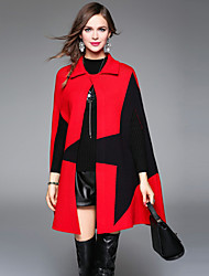 XSSL Women's Going out / Work / Holiday Simple / Street chic / Sophisticated Cloak/CapesJacquard Shirt Collar Sleeveless Fall / Winter Red