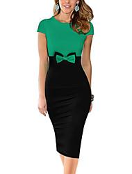 Feminino Evasê Vestido,Informal / Casual / Trabalho estilo antigo / Simples / Moda de Rua Colorido Decote Redondo Altura dos JoelhosSem