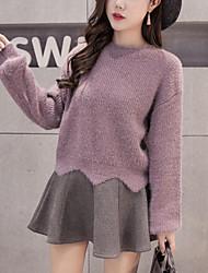 Damen Standard Pullover-Ausgehen Lässig/Alltäglich Einfach Niedlich Solide Rot Weiß Gelb Lila Rundhalsausschnitt Langarm PolyesterHerbst