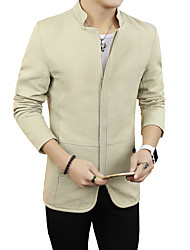Men's Going out / Casual/Daily / Party/Cocktail Simple / Street chic / Active Jackets,Solid Stand Long Sleeve Spring / FallBlue / Red /