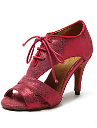 Non Customizable Women's Dance Shoes Leather Leather Latin / Jazz Heels Stiletto Heel Professional / Indoor / Performance Red