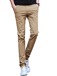 Men's Plus Size Straight / Slim Chinos Pants,Casual/Daily / Work / Club Vintage / Simple / Street chic Striped Low Rise Zipper / Button