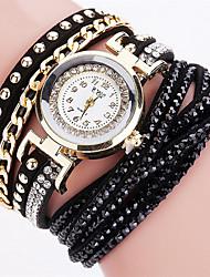 Женские Модные часы Наручные часы Часы-браслет Кварцевый Цветной PU ГруппаВинтаж Блестящие Конфеты Богемные С подвесками Кольцеобразный