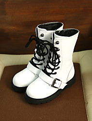 Girl's Boots Comfort Cowhide Casual Black White