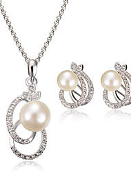Jewelry Set Pearl Simulated Diamond Fashion White Wedding Party Daily Casual 1set 1 Necklace 1 Pair of Earrings Wedding Gifts