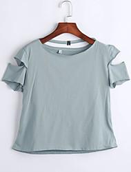 Damen Solide Sexy Lässig/Alltäglich T-shirt,Rundhalsausschnitt Sommer Kurzarm Blau / Weiß Polyester Mittel
