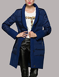Women's Long Down Coat,Simple Casual/Daily Solid-Polyester White Duck Down Long Sleeve Stand Blue