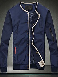 Men's Going out / Casual/Daily Simple Jackets,Solid Stand Long Sleeve Blue Cotton