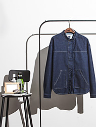 Men's Casual/Daily Simple Denim Jackets,Solid Long Sleeve Blue Cotton
