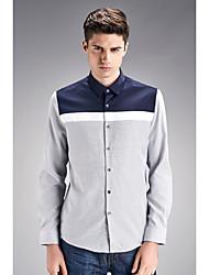 Men's Wedding / Work Vintage / Street chic Shirt,Color Block Shirt Collar Long Sleeve Multi-color Cotton