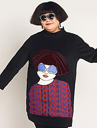 Feminino Solto Vestido,Casual / Tamanhos Grandes Simples Estampado / feito à mão Colarinho Chinês Acima do Joelho Manga Longa Preto