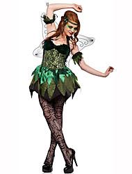Princesa Conto de Fadas Festival/Celebração Trajes da Noite das Bruxas Preto Verde Estampado Vestido AsasDia Das Bruxas Natal Carnaval