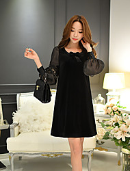 DABUWAWA Women's Going out / Casual/Daily / Party/Cocktail Sexy / Vintage / Sophisticated Shift / Sheath / Little Black Dress,Solid Round Neck
