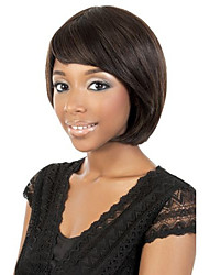 Capless Women Bobo Short Curly Natural Black Synthetic Wigs Side Bang with Free Hair Net