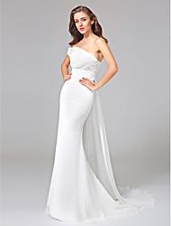 Lanting Bride® Trompette / Sirène Robe de Mariage  - Classique & Intemporel Dos ouvert Traîne Watteau Une Epaule Mousseline de soie avec