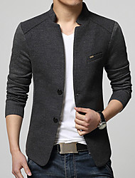 Men's Casual/Daily Street chic Spring Fall Blazer,Solid Stand Long Sleeve Regular Cotton Acrylic Polyester