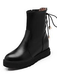 Women's Solid Kitten Heels Round Closed Toe Pu Zipper Boots