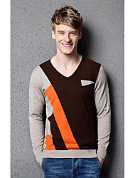 Мужчины На каждый день Простое Обычный Пуловер Контрастных цветов,Несколько цветов V-образный вырез Длинный рукав Хлопок / ПолиэстерОсень