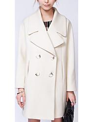 Women's Casual/Daily Simple Coat,Solid Shirt Collar Long Sleeve Fall White Wool Medium