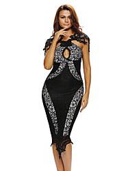 Women's Queen Style Black Lace Keyhole Bust Midi Dress