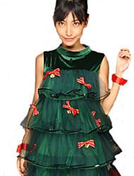 Disfraces de Cosplay Disfraces de Santa Cosplay de Películas Verde Un Color Vestido Navidad Mujer Poliéster
