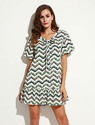 Women's Going out Vintage Loose Dress,Striped V Neck Above Knee ½ Length Sleeve Green Cotton Summer