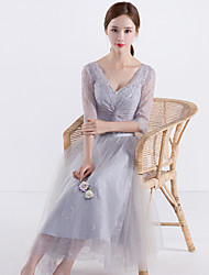 Knee-length V-neck Bridesmaid Dress - Elegant Open Back 3/4 Length Sleeve Tulle