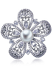 Simulated Pearl Brooches Vintage Jewelry Platinum Plated Vintage Metal Flower Brooch Pins Women Scarf Dress Accessories