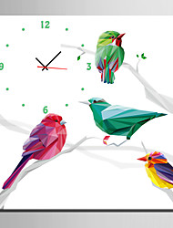 E-HOME® Colored Geometric Bird Clock in Canvas 1pcs