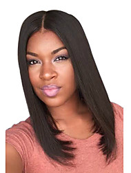Short Straight Medium Side Bang Synthetic Wigs Black Dark Brown Heat Resistant Hair Wig