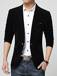 Men's Formal / Plus Size Blazer,Solid Long Sleeve Cotton / Polyester