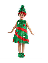 Cosplay Costumes Fairytale Festival/Holiday Halloween Costumes Green Patchwork Dress Hats Christmas Carnival Kid