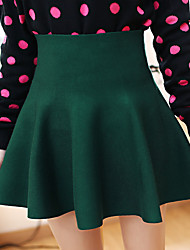 Women's A Line Solid Skirts,Casual/Daily Mid Rise Above Knee Button Polyester Micro-elastic All Seasons