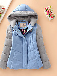 Women's Short Down Coat,Simple Casual/Daily Patchwork-Polyester White Duck Down Long Sleeve Hooded Blue / Pink / Brown
