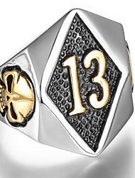 Anéis Diário Jóias Aço Titânio Masculino Anel 1peça,8 / 9 / 10 / 11 / 12 / 13 Prateado / Amarelo Dourado