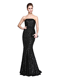 TS Couture® Formal Evening Dress - Celebrity Style Trumpet / Mermaid Strapless Floor-length Lace with Lace / Side Draping / Pleats