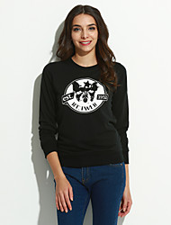 Women's Going out /Street chic Regular Hoodies,Print White / Black Round Neck Long Sleeve CottonSpring /