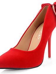 Damen-High Heels-Hochzeit-Wildleder-Stöckelabsatz-Komfort-Schwarz Rot