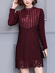 Feminino Rendas Vestido,Informal / Tamanhos Grandes Moda de Rua Sólido Colarinho Chinês Mini Manga Longa Vermelho / Preto Poliéster