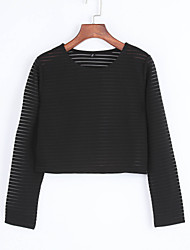 Damen Solide Einfach Lässig/Alltäglich T-shirt,Rundhalsausschnitt Herbst Langarm Schwarz Polyester Transparent