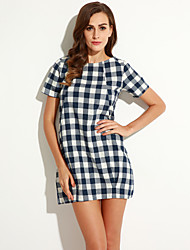 Women's Going out Cute Loose Dress,Plaid Round Neck Above Knee Short Sleeve Blue / Black Linen / Rayon Summer