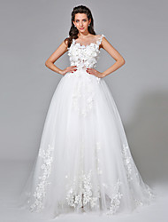 Ball Gown Wedding Dress - Elegant & Luxurious See-Through Court Train Scoop Tulle with Appliques Beading Button Flower